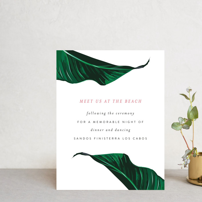 """""""Mod Palm"""" - Reception Cards in Pearl by Fig and Cotton."""