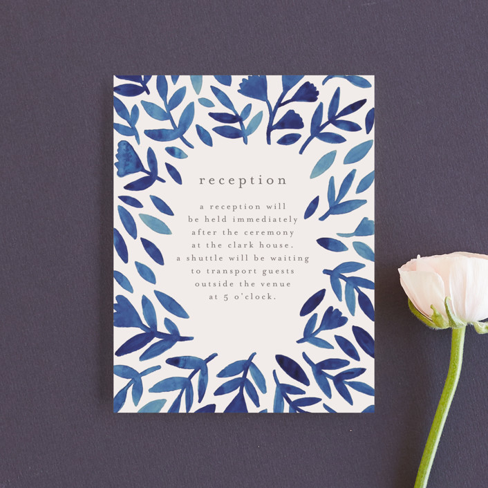 """Wildflower Floral"" - Reception Cards in Navy by Katharine Watson."