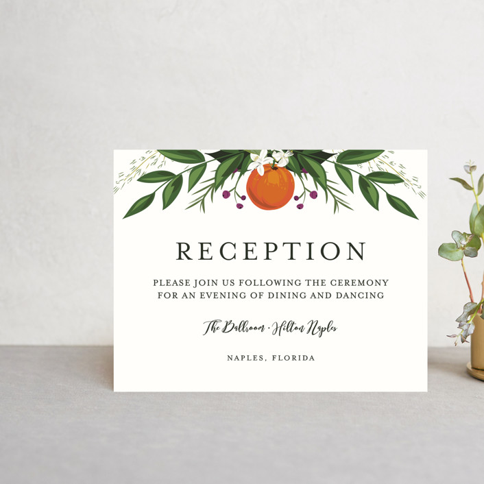 """""""Orange Blossoms"""" - Reception Cards in Pearl by Susan Moyal."""