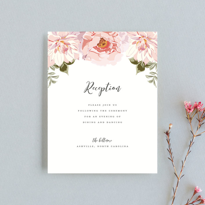 """Garden Wedding"" - Reception Cards in Coral by Susan Moyal."