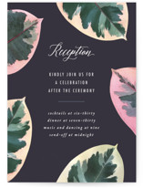 This is a purple reception card by Hooray Creative called Painterly Plant with standard printing on signature in standard.