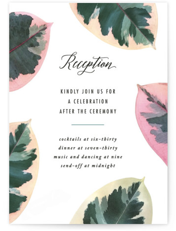 This is a botanical, white, green, colorful Reception Cards by Hooray Creative called Painterly Plant with Standard printing on Signature in Card Flat Card format. A bold, botanical design inspired by the photos I captured of rubber plant leaves with ...