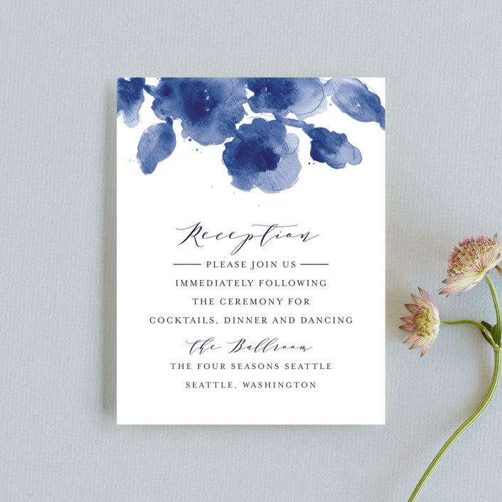 """Cornflower Wedding"" - Reception Cards in Periwinkle by Chris Griffith."