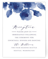 This is a blue reception card by Chris Griffith called Cornflower Wedding with standard printing on signature in standard.