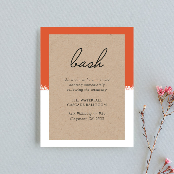 """""""Joyfully Ever After"""" - Reception Cards in Tangerine by Faiths Designs."""