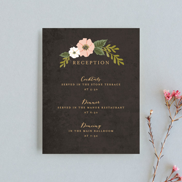"""Floral Ring"" - Reception Cards in Charcoal by Karidy Walker."