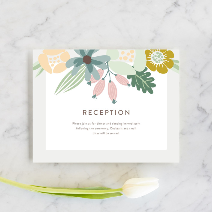 """""""Floral Ampersand"""" - Reception Cards in Mustard by Johanna McShan."""