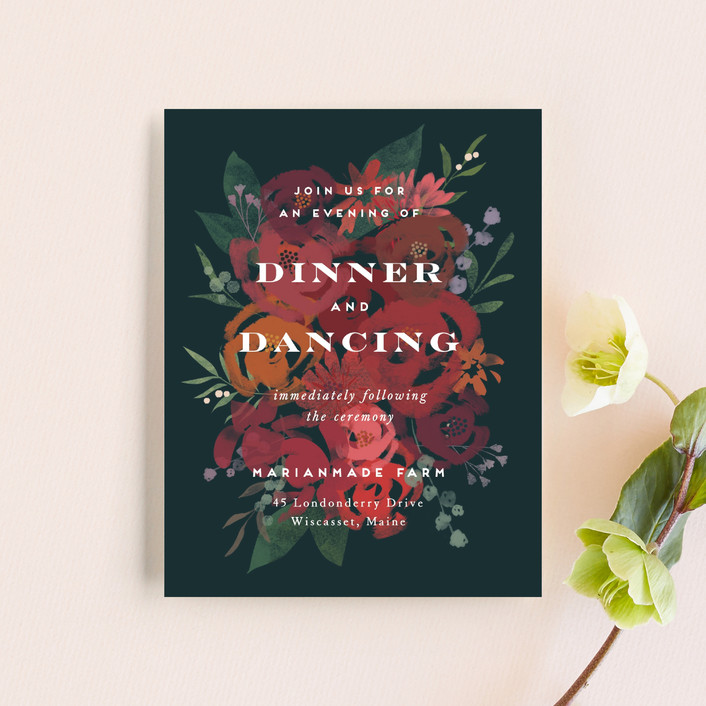 """""""Midnight Garden"""" - Reception Cards in Deep Sea by Jennifer Wick."""