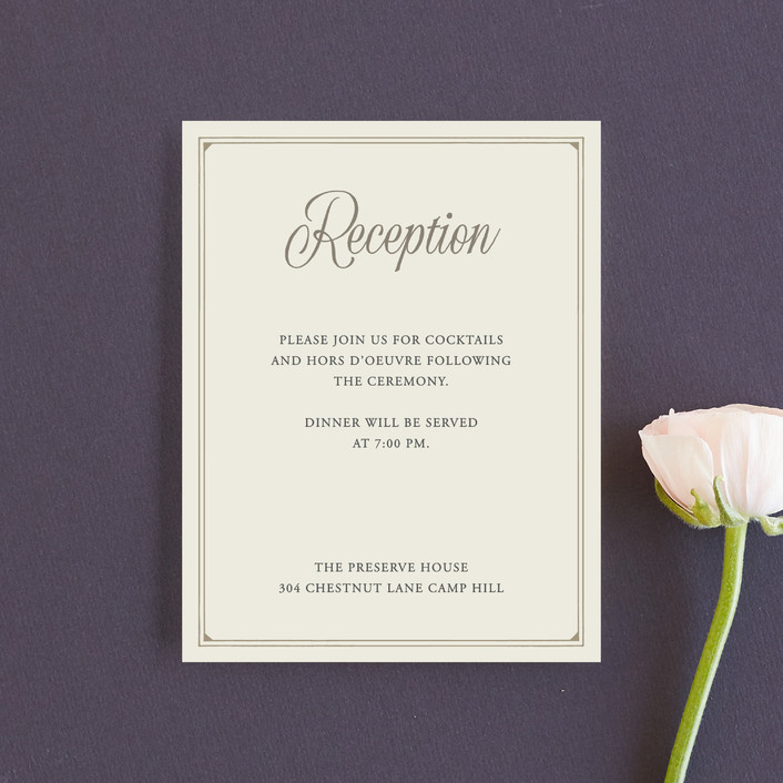 """""""Vintage Silhouettes"""" - Reception Cards in Champagne by Jessie Steury."""