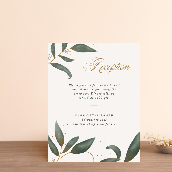 """Love Grows"" - Reception Cards in Leaf by Leah Bisch."