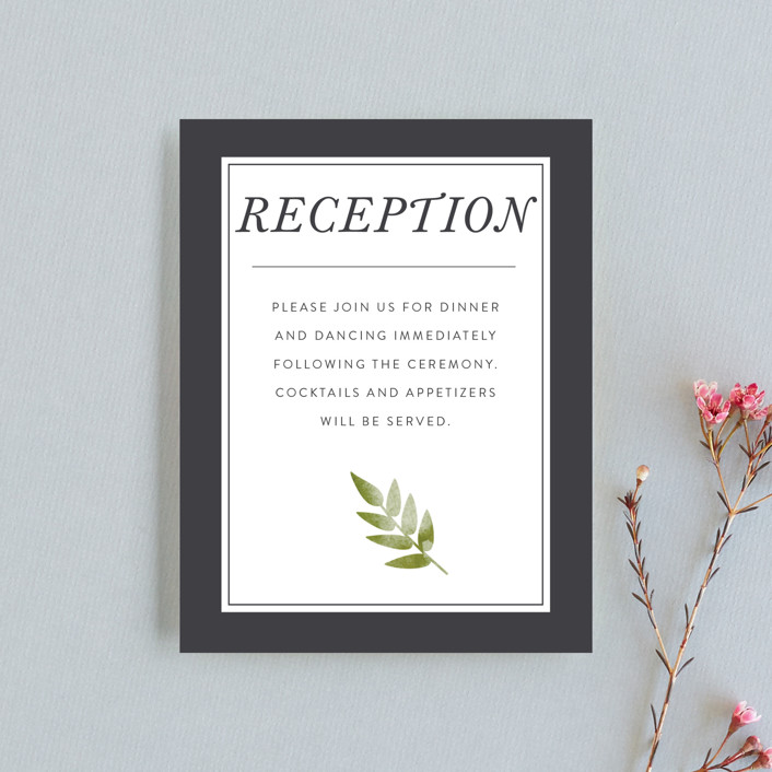 """Watercolor Leaf"" - Monogram Reception Cards in Porcelain by Johanna McShan."