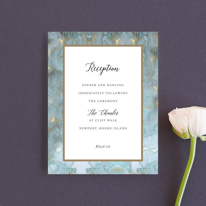 """Something Blue"" - Reception Cards in Aqua by Benita Crandall."