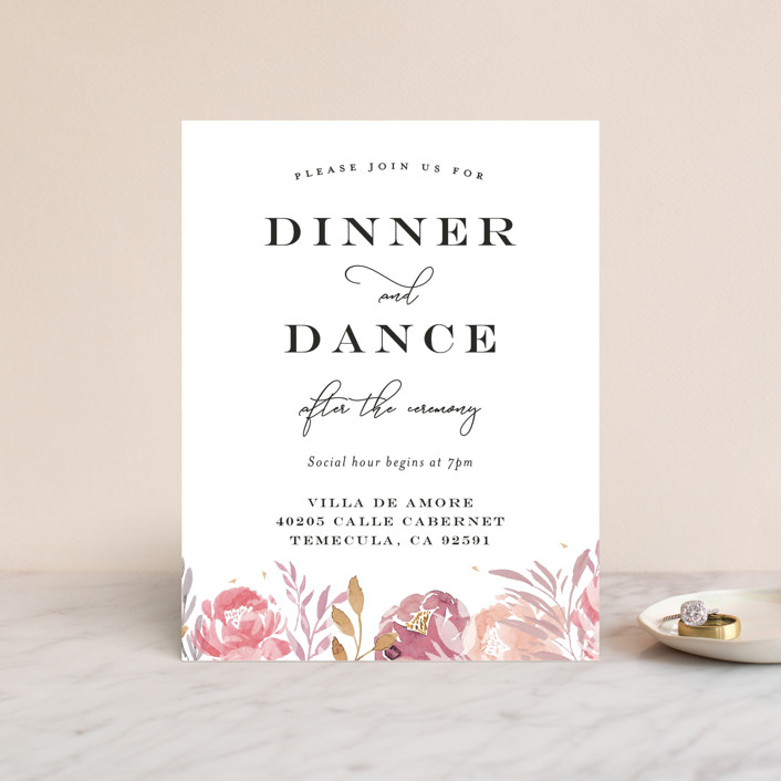 """""""Grand Bloom"""" - Reception Cards in Mauve by Bonjour Paper."""