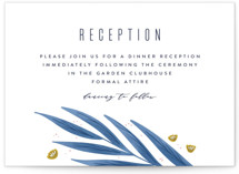 This is a blue reception card by Joanna Griffin called Paradise with standard printing on signature in standard.