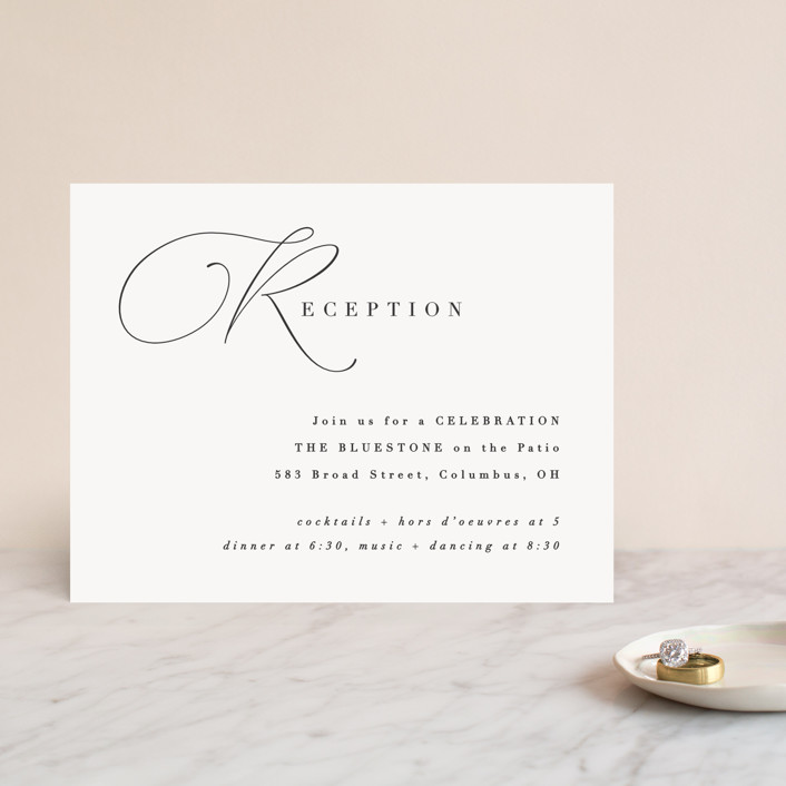 """Flowing Initials"" - Reception Cards in Ivory by Hooray Creative."
