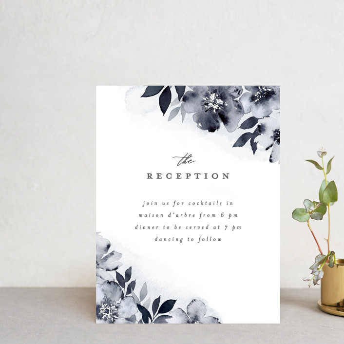 """""""Fancifully"""" - Reception Cards in Navy by Everett Paper Goods."""