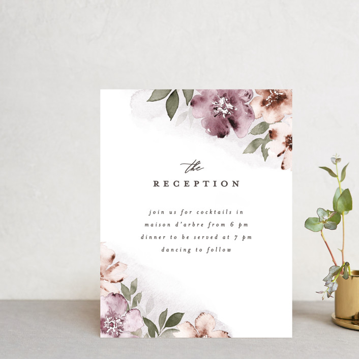 """""""Fancifully"""" - Reception Cards in Dust Mauve by Everett Paper Goods."""