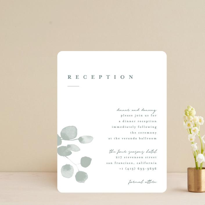 """Silver Dollar Eucalyptus"" - Reception Cards in Silver Dollar by Shannon Chen."