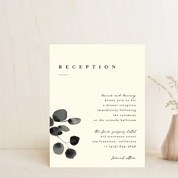 """Silver Dollar Eucalyptus"" - Reception Cards in Ivory by Four Wet Feet Studio."