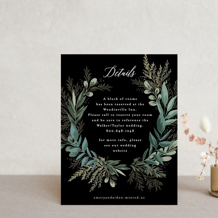 """""""Forest Crest"""" - Reception Cards in Obsidian by Alethea and Ruth."""