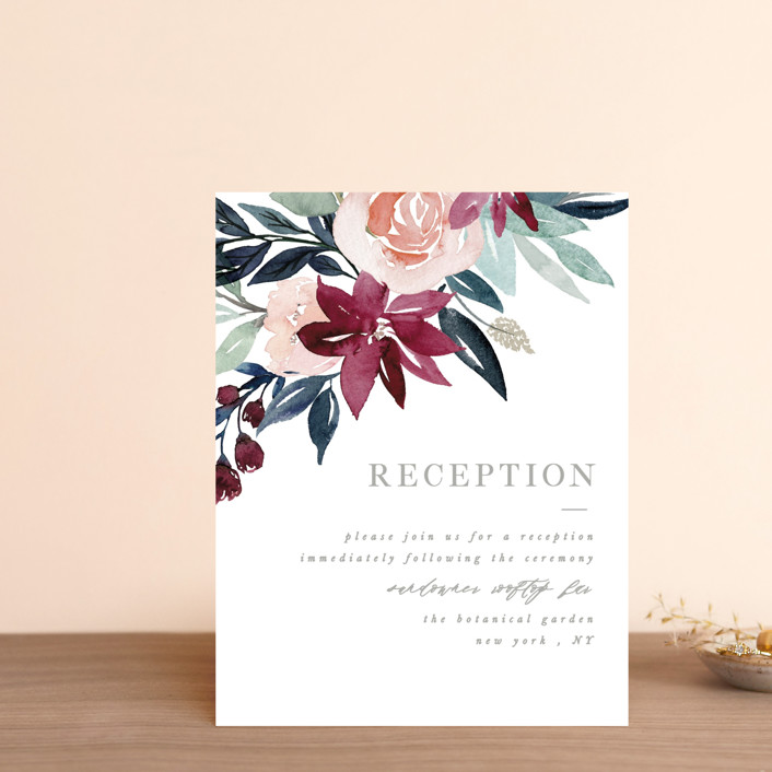 """Garden Stroll"" - Reception Cards in Burgundy by Creo Study."