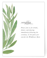 This is a green reception card by Olivia Raufman called Garden Square with standard printing on signature in standard.