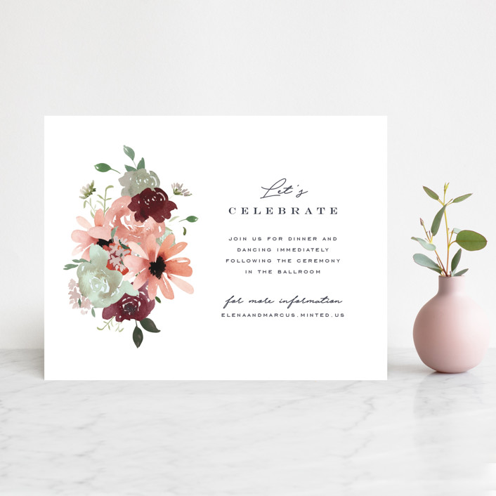 """""""Cascading Florals"""" - Reception Cards in Rouge by Leah Bisch."""