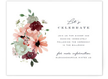 This is a green reception card by Leah Bisch called Cascading Florals with standard printing on signature in standard.