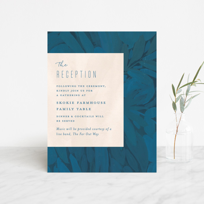 """Floral Burst"" - Reception Cards in Ocean by Morgan Ramberg."