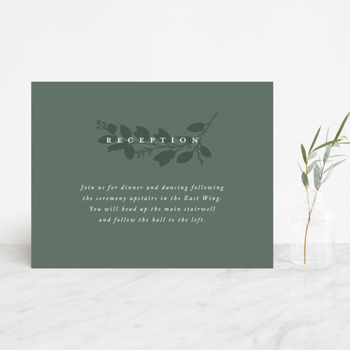 """Falling Branch"" - Reception Cards in Eucalyptus by Amy Kross."