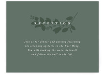 This is a green reception card by Amy Kross called Falling Branch with standard printing on signature in standard.