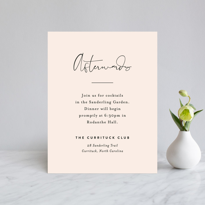 """Just the Two of Us"" - Reception Cards in Blush by Jennifer Wick."