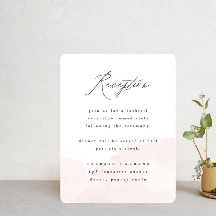 """""""Softly Layered"""" - Reception Cards in Blush by Everett Paper Goods."""