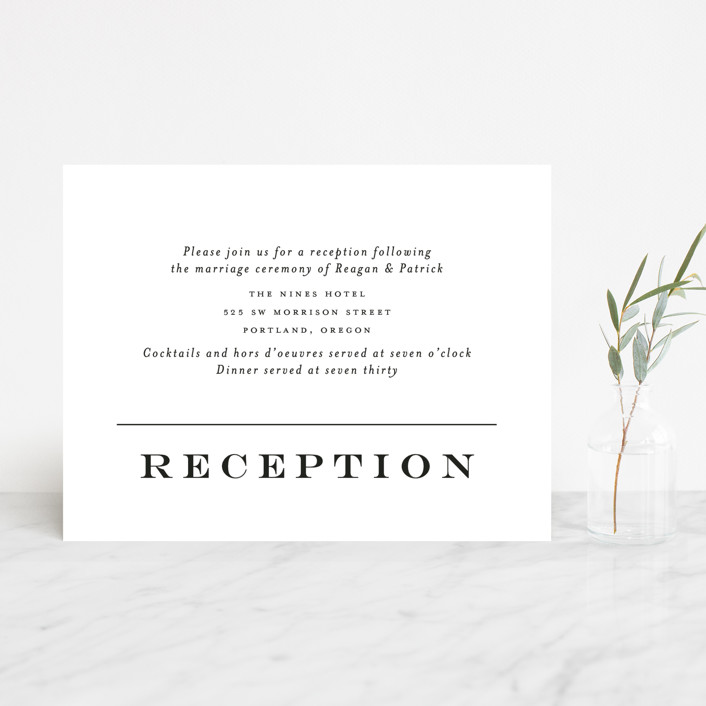 """Library Square"" - Reception Cards in Charcoal by Little Words Design."