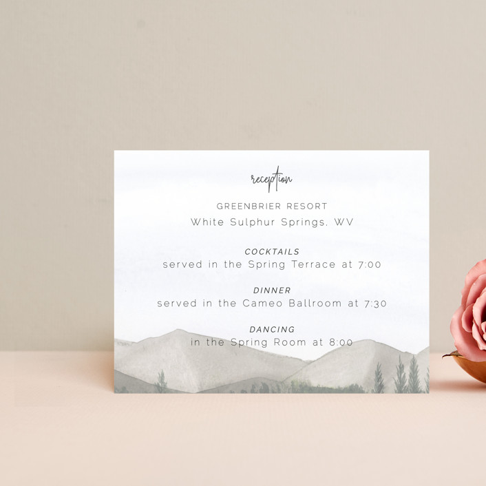 """""""muted mountains"""" - Rustic Reception Cards in Splendid Day by Deborah Chou."""