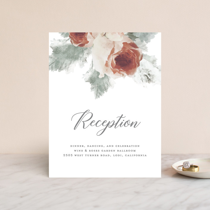 """""""rose drop"""" - Rustic Reception Cards in Rose by Cassandra Imagines."""