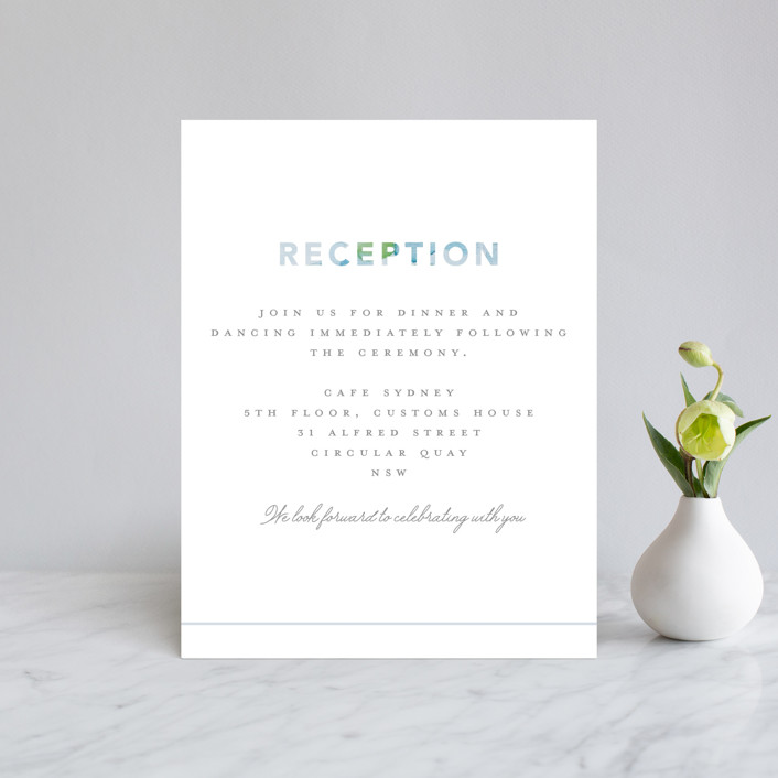 """""""Sea Glass"""" - Reception Cards in Ocean by Hudson Meet Rose."""