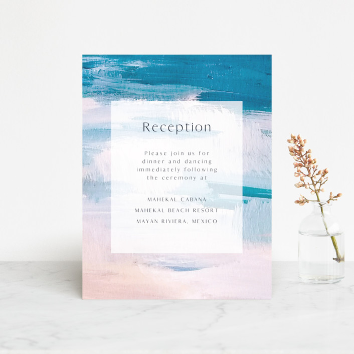 """Sand & Sun"" - Reception Cards in Ocean by Nicole Walsh."