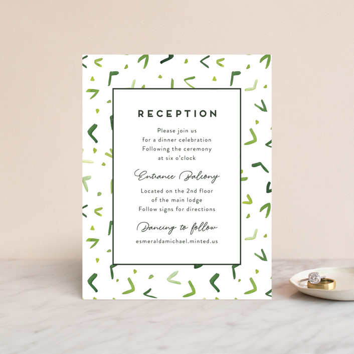 """""""Evergreens Watercolor"""" - Reception Cards in Forest by Yao Cheng Design."""
