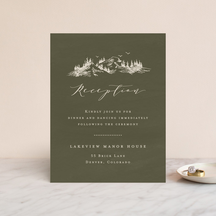 """into the mountains"" - Rustic Reception Cards in Olive by Helen Halik."