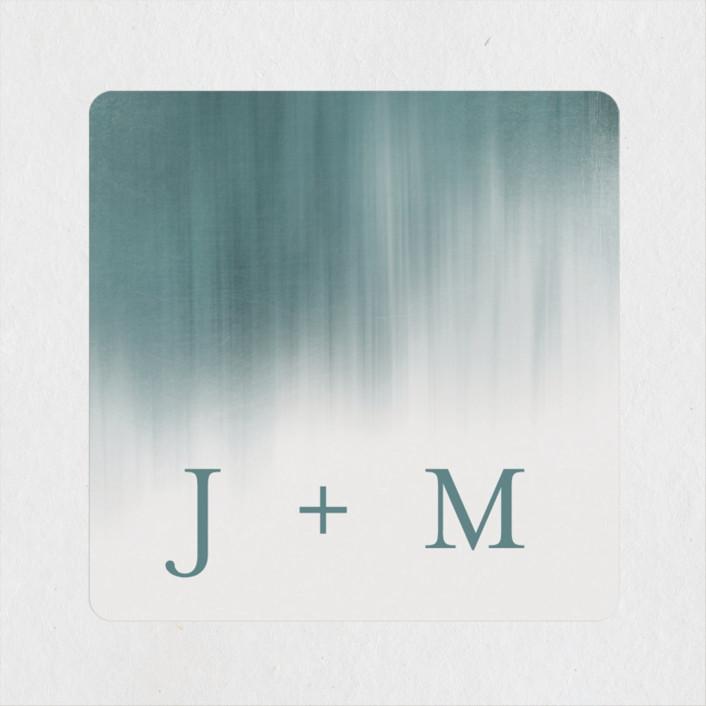 """""""Modern Beach"""" - Modern Rehearsal Dinner Favor Stickers in Dark Blue by Sarah Lenger."""