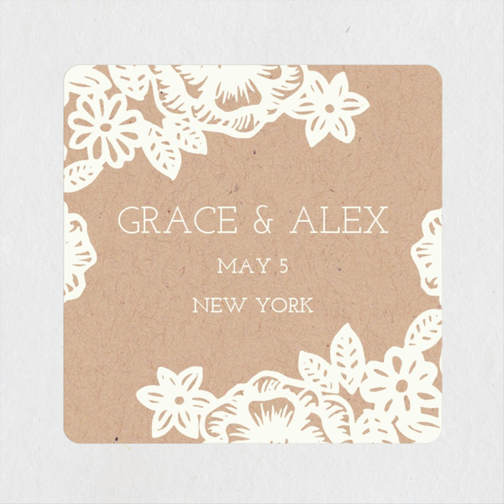 """Lace and Kraft"" - Vintage, Floral & Botanical Rehearsal Dinner Favor Stickers in Kraft by Katharine Watson."