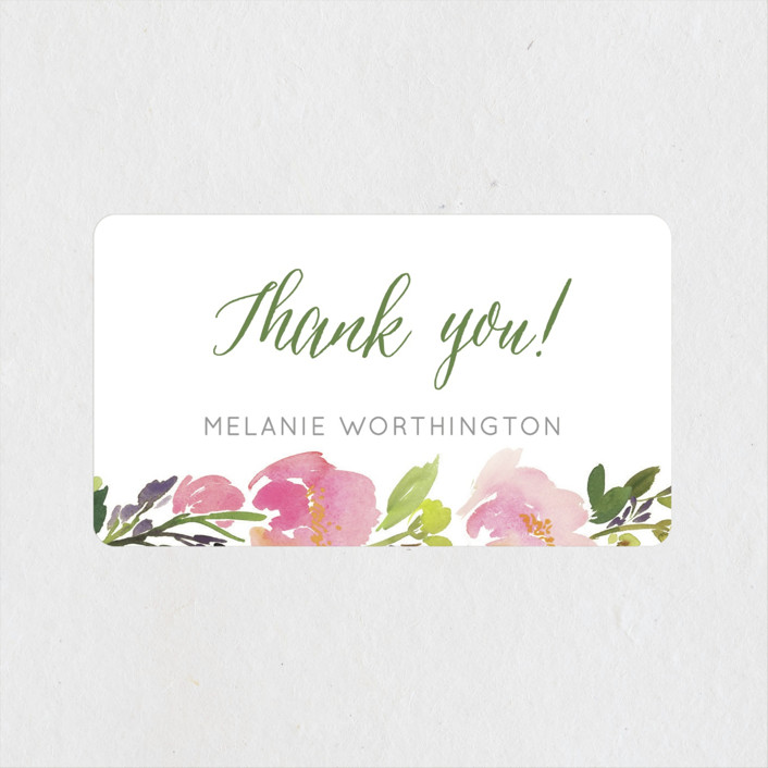 """""""Watercolor Floral"""" - Rehearsal Dinner Favor Stickers in Olive by Yao Cheng Design."""