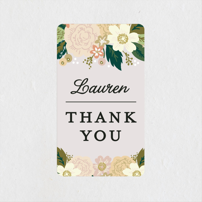 """""""Classic Floral"""" - Rehearsal Dinner Favor Stickers in Spring Blush by Alethea and Ruth."""