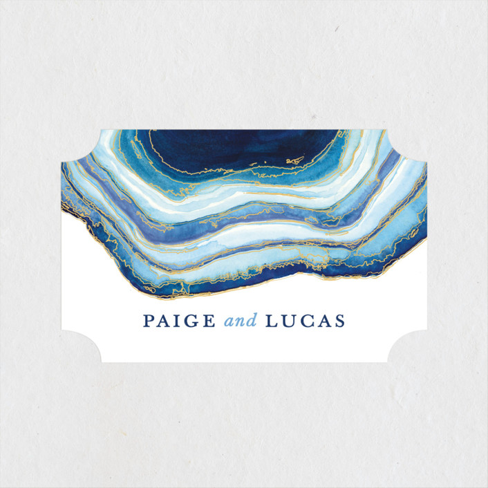 """Gilt Agate"" - Bohemian, Rustic Rehearsal Dinner Favor Stickers in Navy by Kaydi Bishop."