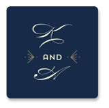 This is a blue wedding favor label by Anupama called Gatsby Frame with standard printing on uncoated sticker paper in sticker.