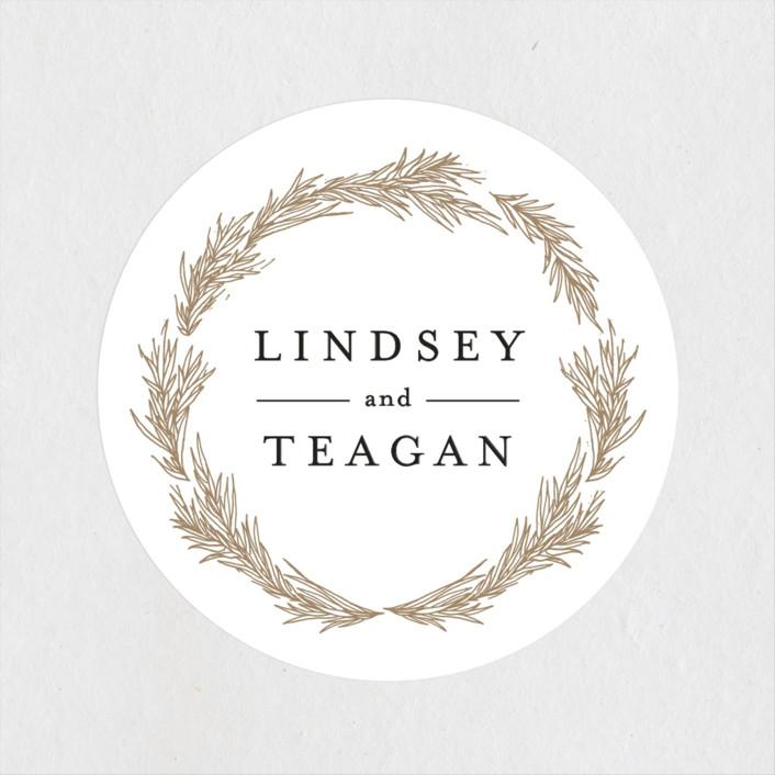 """Little Wreath"" - Rehearsal Dinner Favor Stickers in Pearl by Phrosne Ras."