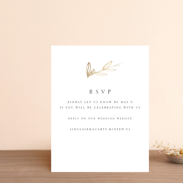 """""""Metallic Branches"""" - Foil-pressed Rsvp Online Enclosure Cards in Gold by Mere Paper."""
