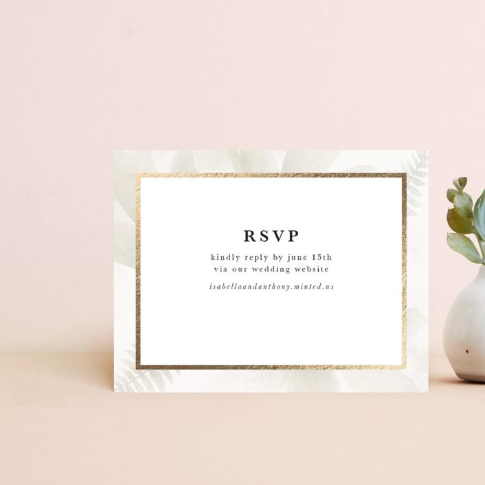 """Roses & Greenery"" - Foil-pressed Rsvp Online Enclosure Cards in Aubergine by Susan Moyal."