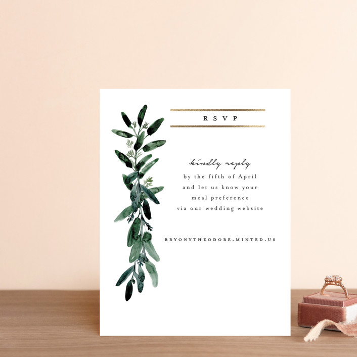 """""""Gilded Eucalyptus"""" - Foil-pressed Rsvp Online Enclosure Cards in Snow by Lissabeth Anglin."""